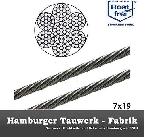 Hamburger Tauwerk Fabrik 20 Meter 1,5mm Edelstahldrahtseil 7x7 V4A Inox rostfrei Drahtseil Stahlseil Gel/änderseil