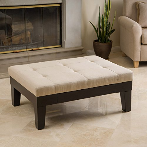 Tufted Ottoman - Brown Rectangle Casual Transitional Linen Upholstered Wood Storage Ottoman with Dark Espresso Finished Wood Legs, Pull-Out Drawer is Ideal for Conveniently Storing Linens by GAShop