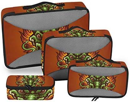 怖いグリーンドラゴン荷物パッキングキューブオーガナイザートイレタリーランドリーストレージバッグポーチパックキューブ4さまざまなサイズセットトラベルキッズレディース