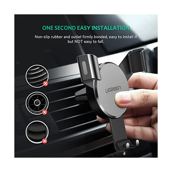 UGREEN Car Air Vent Mount Cell Phone Holder Gravity Compatible for iPhone  Xs X XR 6S 7 Plus 8 5S 6, Samsung Galaxy S9 S7 Edge S8 S6, Google Pixel 2