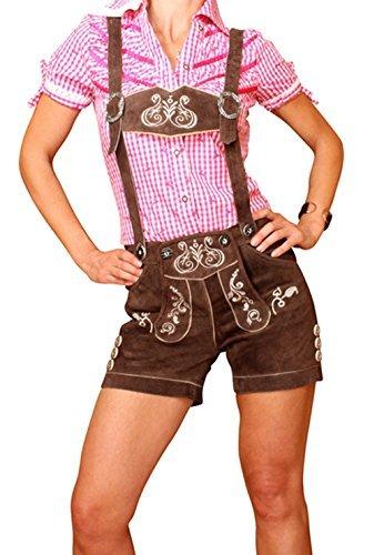 Engelleiter Damen Trachten Lederhose kurz Shorts braun mit Hosenträgern KUDC4 (44)