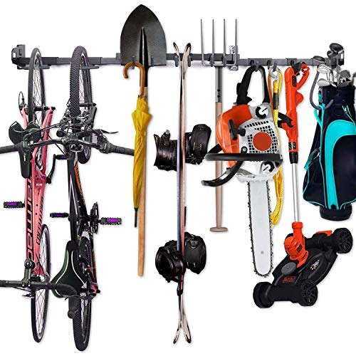 Tool Storage Rack - Adjustable Wall Mount Tools Storage System Heavy Duty Tools Hanger, Garage shed basement workshop Storage, with 3pcs Bike hanger, 5pcs Utility Racks, Garden organizer, Storage Hook