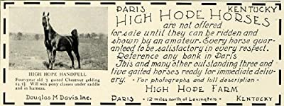 1931 Ad Paris Kentucky High Hope Farm Horse Breeders Douglas M. Davis Equine Pet - Original Print Ad