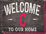 "Fan Creations Cleveland Indians 12"" x 6"" Distressed Welcome To Our Home Wood Sign"