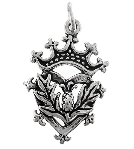 erling Silver Scottish Thistle Luckenbooth Charm (Scottish Silver Brooch)