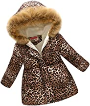 Ayunjia Kids Winter Coat Leopard Print Girls Hooded Cotton Parka Coat for 3-12 Years Old