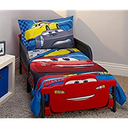 Disney Cars Rusteze Racing Team 4 Piece Toddler Bedding Set, Blue/Red/Yellow/White