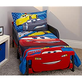 Disney Cars Rusteze Racing Team 4 Piece Toddler Bedding Set, Blue/Red/Yellow/White 8