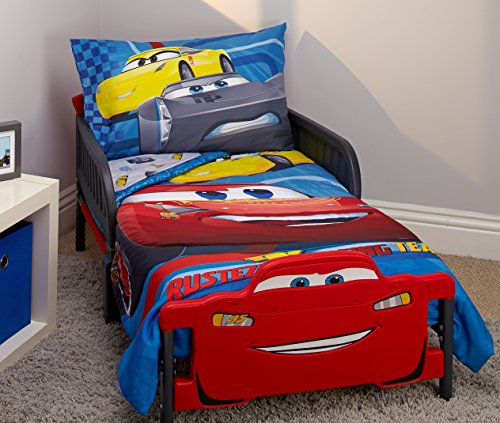 Crib Bedding Bed Set - Disney Cars Rusteze Racing Team 4 Piece Toddler Bedding Set, Blue/Red/Yellow/White