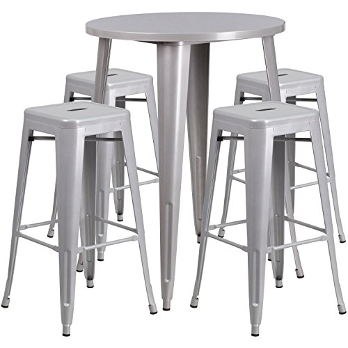 Flash Furniture 30'' Round Silver Metal Indoor-Outdoor Bar Table Set with 4 Square Seat Backless Stools (30' Set Bistro)