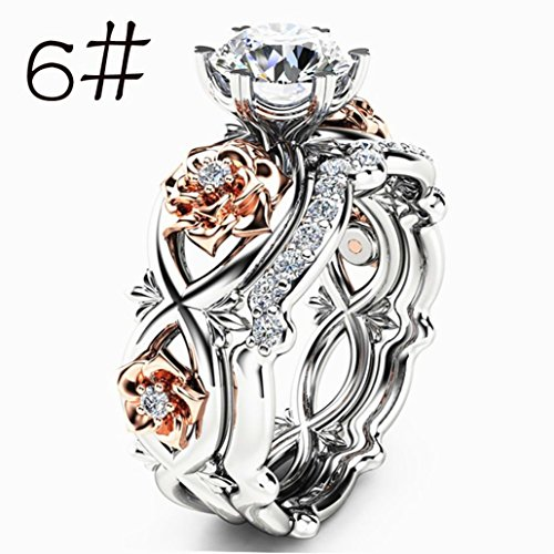 Fashion Ring,UMFun Women Two Tone White Sapphire Wedding Engagement Floral Ring Charm Ladies Jewelry For Bride Engagement Gift (6 #)