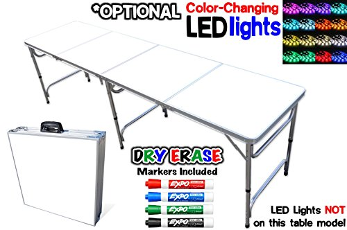 Portable Folding Table w/ Dry Erase Surface & Markers - Adjustable Length (8 ft or 4 ft) Adjustable Height (Kid Size & Standard Size) Party (Kids Only Table)