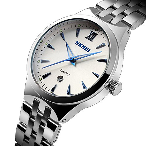 Sju Calendar.Skmei Stainless Steel Business Watch Men Water Resistant Calendar Noctilucent Quartz Watches Analog Silver Blue