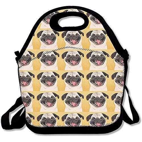 Lunch Smiles - Emmwhite Funny Pug Smile Wallpaper Lunch Bag