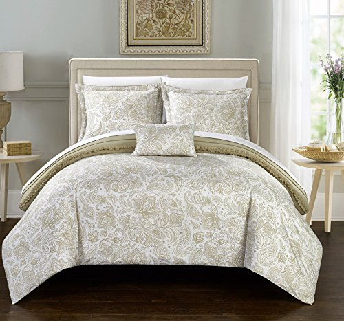Perfect Home 4 Piece Esme Pleated and Ruffled REVERSIBLE Paisely Floral Print King Duvet Cover Set Beige