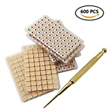 Ear Press Seeds 600pcs + Acupuncture Probe Pen Acupressure Massage Tools Kit for Relaxation Multi-Function Massaging Vaccaria Plaster Bean