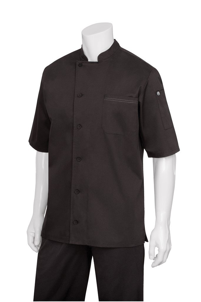 Chef Works Mens Valais Short Sleeve Chef Coat, Black/Black, X-Large