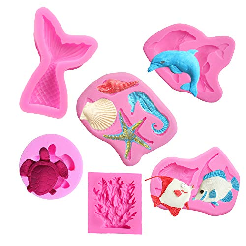 - Seashell Silicone Mold Mermaid Tail Mold Tortoise Candy Mold Fish Fondant Mold Seahorse Chocolate Mold Starfish Mold Coral Shaped Mold for Sea Creatures Beach Theme Party Cake Decoration (Set of 6)
