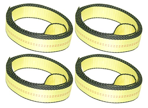 "DKG-307 Over The Tire Car Tie Down Straps for Trailers – 2"" x 10' Lasso Car Cargo Straps with Soft Sewn Loop – Reliable Auto Hauling Wedge Trailer Tie Downs (4 Pack) by DKG STRAPS"
