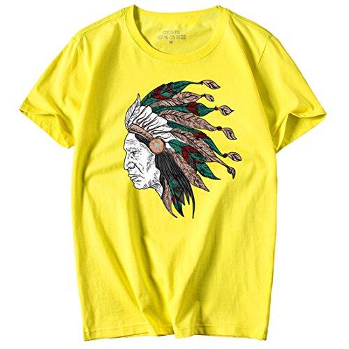 Shirt Couleur Shirt Jaune Tee Casual Unie Plussize Indigène moichien Hommes Coton T Jersey 4xl Indiennes Ai Impression Manches Graffiti Chemise Top Slogan Courtes M 100 1C4gwUq