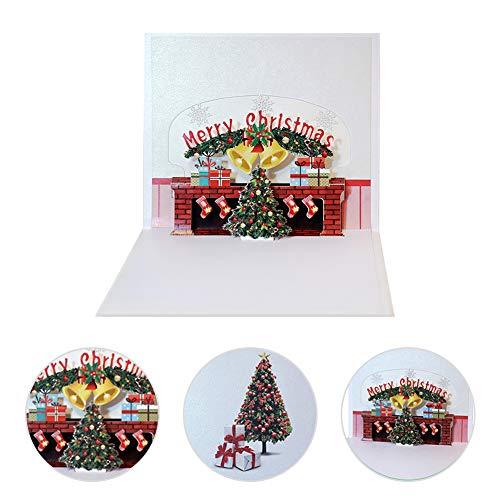 angel3292 Handmade 3D Pop Up Fireplace Xmas Tree Greeting Card Christmas