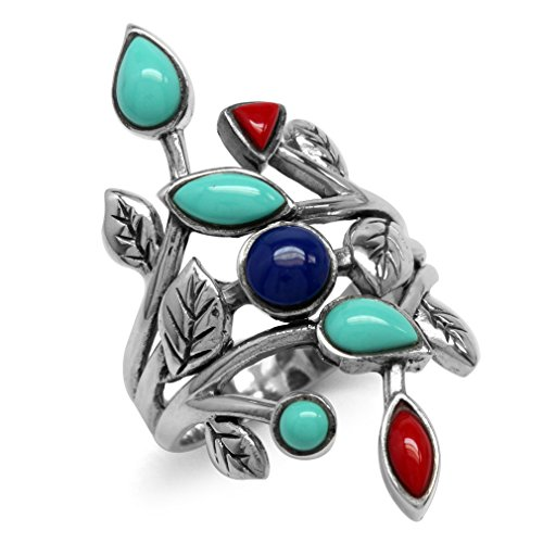 - Created Green Turquoise, Red Coral & Blue Lapis 925 Sterling Silver Leaf Vintage Style Ring Size 7