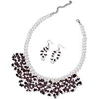 "Garnet Garnet Silvertone and Stainless Steel Earrings and Bib Necklace Jewelry Set For Women 18"""