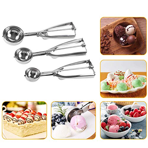 - Besmon Ice Cream Scoops ,Stainless Steel Cookie Scooper with Trigger Release, Cookie Dough Metal Cupcake spoons Include Large-Medium-Small Sizes Balls for Ice Cream, Cupcake, Muffin (3 PCS)