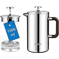 Ecooe 1,5 l fransk press kaffebryggare rostfritt stål dubbelvägg café (1 500 ml)