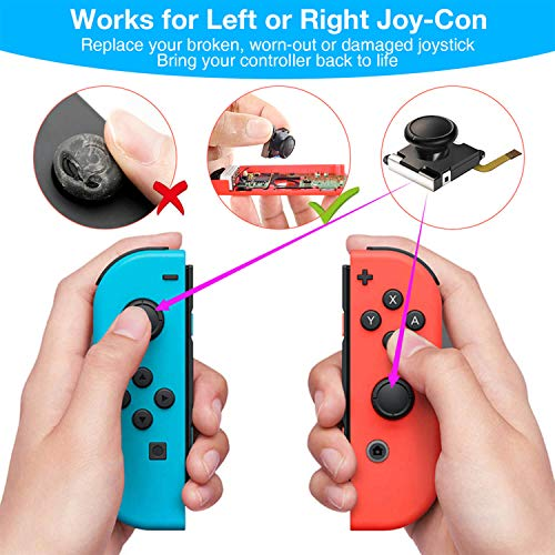 Joycon Joystick Replacement, (2 Pack) Switch Analog Stick Parts for Nintendo Switch Joy Con Controller Thumbstick, Include Full Repair Tool Kit and 2 Metal Lock Buckles, 2 Jon Con Joystick Replacement