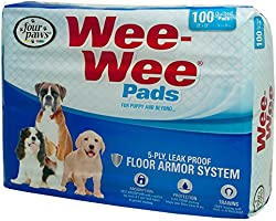 Four Paws 100202089 Wee-Wee Pads, 100-Count, Brick Pack Bag