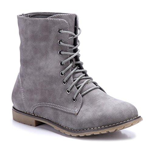 Schuhtempel24 Damen Schuhe Flache Stiefeletten Stiefel Boots Flach 2 cm Grau