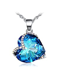 Blue Heart Crystal Necklace, Fairy Season Pendant Jewelry with Crystals from Swarovski Gifts for Women