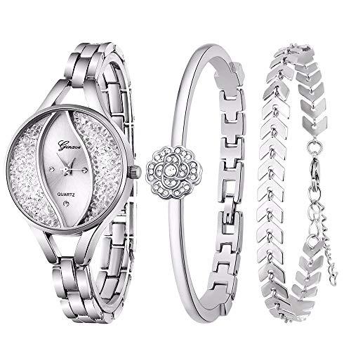 Weicam Women's Diamond Wristwatch Bangle Bracelet Jewelry Set Analog Quartz Wrist Watch for Ladies (Silver) from Weicam