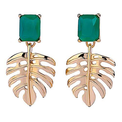 AG Goodies Alloy Palm Leaves Earrings for Women Girls Drop Dangle Leaf Earrings Resin Minimalist Bohemian Statement Jewelry