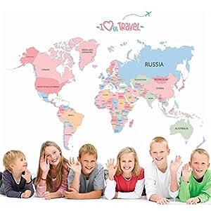 KiKa Monkey Educación temprana Dibujos animados Alfabeto Inglés Mapa del mundo Desmontable Vinilo Dormitorio Pared Pegatinas