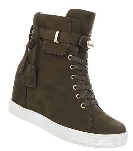 Damen Stiefelette | Keilabsatz Ankle Boots | Wedges Stiefel