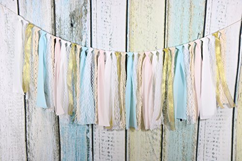 Fabric Tassel Garland Rag Tie Garland Shabby Chic Blush Banner for Wedding Decor Baby Shower Party Decor Home Decor Wall Hanging Boho Decor Birthday Banner (Garland Blush)