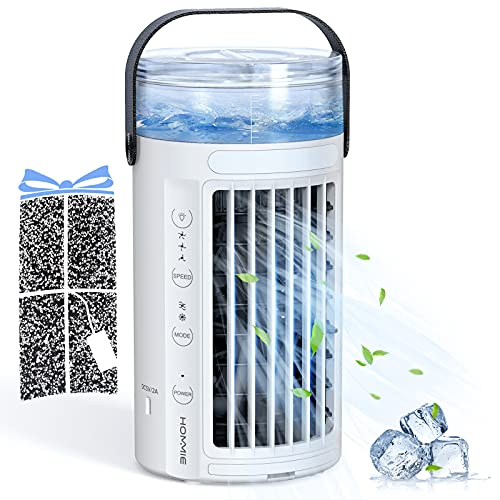 Hommie Portable Air Conditioner, 4 in 1 Personal Air Cooler with 2 Fans, 8 Colors LED Light and 3 Speeds, Small Desk…
