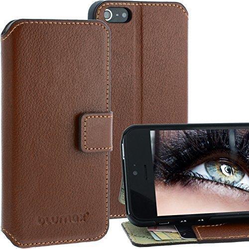 Elegantes Leder Wallet Case für Apple iPhone SE / 5 / 5s - Filo Braun - mit Magnetschnalle mit Fächern für sämtliche Visitenkarten / Kreditkarten im Bookstyle, Echt Leder von Blumax