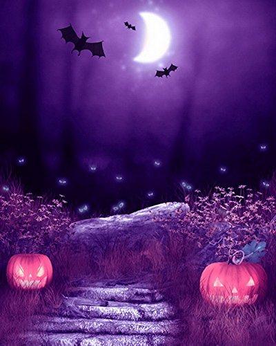 Yelewen 5x7ft Spooky Halloween Scary Pumpkins Ghost Eyes Bats Moon Silk Photography Backdrops Indoor Studio Customized Digital Printed Backgrounds Photo Props ()