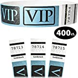 Goldistock 3/4'' Tyvek Wristbands VIP Deluxe - Metallic Blue 400 Count - Event Identification Bands (Paper - Like Texture)
