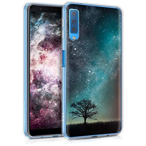Design Silicone Back Cover - kwmobile Case for Samsung Galaxy A7 (2018) - TPU Silicone Crystal Clear Back Case Protective Cover IMD Design - Blue/Grey/Black