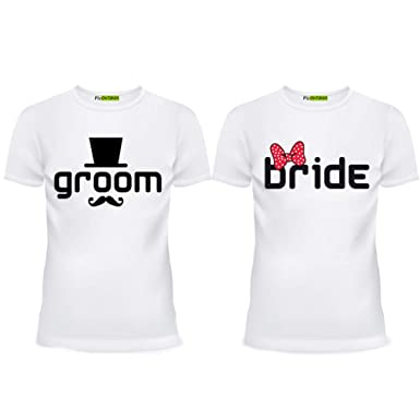 35c1a54b Amazon.com: picontshirt Groom & Bride Newlywed Matching Couple ...