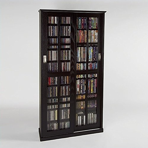 LDE LESLIE DAME Leslie Dame MS-700ES Mission Multimedia DVD/CD Storage Cabinet with Sliding Glass Doors, Espresso