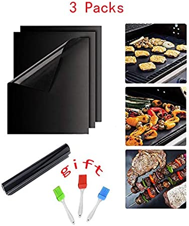 Set of 3 Non Stick BBQ Grill Mat 16 x 13Inch Reusable Barbecue Accessory Heavy Duty 500 Degree Grill Mats Work on Gas Charcoal Electric Set of 3
