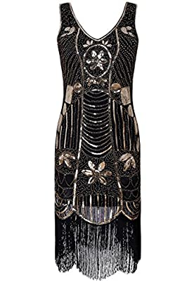 1920s Flapper Girl Dress Sequin Fringe Tassel Beads Lace Party Jazz Dance Ball Gowns