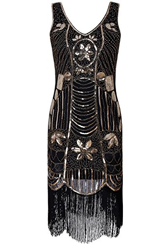 1920s Flapper Girl Dress Sequin Fringe Tassel Beads Lace Party Ball Gowns (Classic Ball Fringe)
