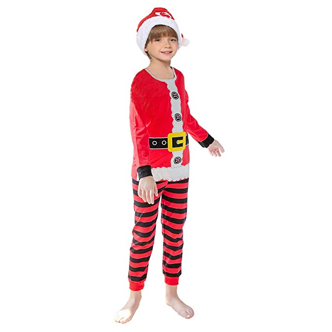 Navidad Pijamas Niños Ropa Navideñas Suéter Rayado Algodón ...