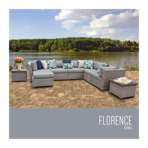 TK Classics FLORENCE-09c 9 Piece Outdoor Wicker Patio Furniture Set - Thick cushions for a luxurious look and feel Cushion covers - washable and zippered for easy cleaning (air dry Only) Feet Levelers - Height adjusters for uneven surfaces that won't mar your patio or deck - patio-furniture, patio, conversation-sets - 51LqwUPPvRL. SS570  -
